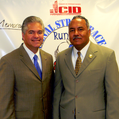 Sheriff James Pohlmann with Orleans Sheriff Marlin Gusman at the Crimestoppers news conference July 13.