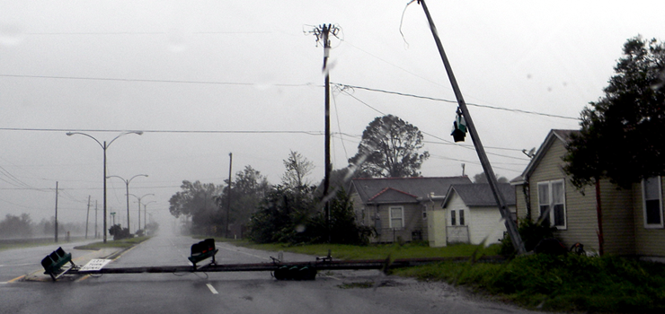 A ldowned light pole on West St. Bernard Highway in Chalmette.