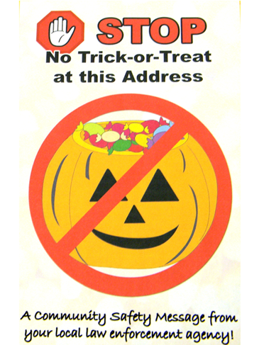 This is the flier St. Bernard Parish sheriff's deputies are placing on the door of all 74 registered sex offenders in the parish, reminding them state law doesn't  let them give minors candy or gifts on Hallooween. Sheriff James Pohlmann said.parents or escorts of treat-or-treaters shouldn't let yougsters go to a door  bearing the flier on Halloween.