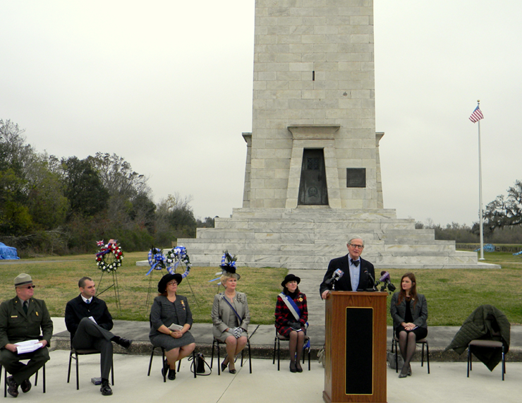 James Coleman Jr., honorary consul of Great Britain from the British Consulate in New Orleans, speaks at the ceremony for the 198th Anniversary of the Battle of New Orleans.