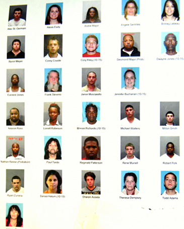 Photos of 30 people jailed in drug investigation except for minor whose name can't be released.