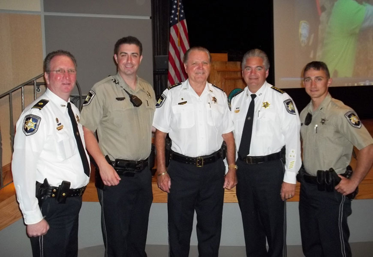 Shown from left,are Maj. David DiMaggio, director of training for the Sheriff's Office; Chachere, Chief Deputy Richard Baumy, Sheriff James Pohlmann and Soulagnet. Photo by the Sheriff's Office.