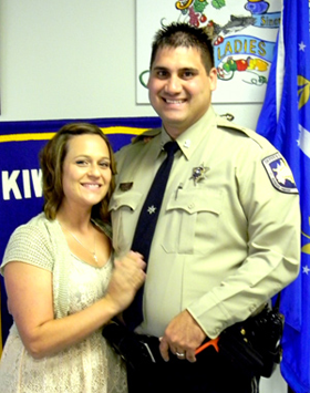 Dep. Henry Senez Jr. and wife, Melissa, after the Life-saver Award ceremony,