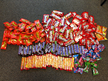 The stolen candy that was recovered after the arrest of two teen-agers for burglary of a St. Bernard recreation department concession stand.