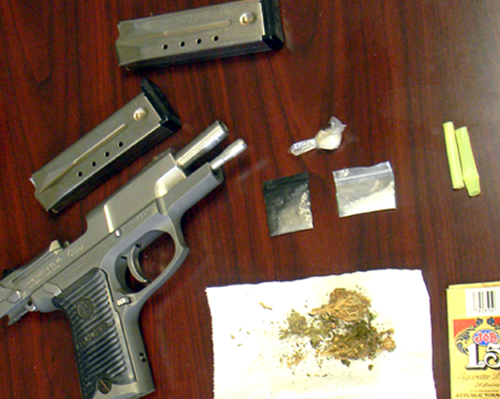 Items recovered in arrests including three baggies of meth, a handgun and marijuana.