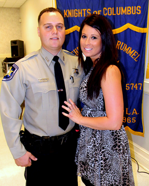 Det. Ryan Melerine and wife, Lindsi, at the Knights of Columbus banquet.
