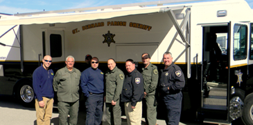 Several officers who took part are shown in front of the command center, including from left, Sgt. Chris Scheeler, Maj. Mark Poche, Sgt. Stephen Ingargiola, Det. Michael Schiro, Capt. Brett Bowen, Lt. Richard Mendel and Lt. Mike Ingargiola.