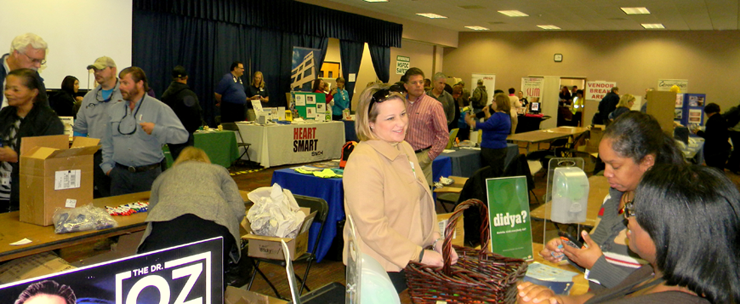 Participants in a building at the Michoud Assembly Facility Safety and Health Fair.