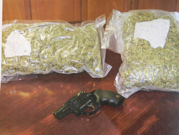 The three pounds of marijuana worth $20,000 seized by St. Bernard narcotics agents, along with a gun found in Gallardo's home.