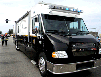 The Sheriff's Office mobile command, which led the Knights of Nemesis pade in February and will lead the Irish, italian, Islenos parade this Sunday.