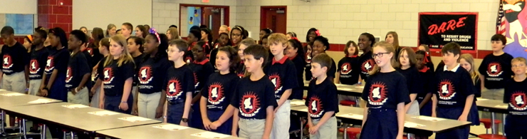 The other half of the class of 5th-graders performing the D.A.R.E. theme song.