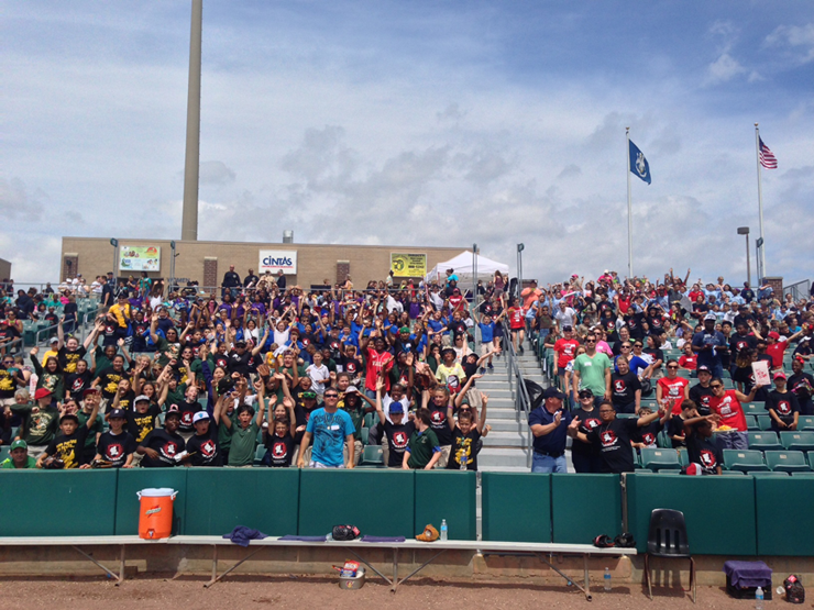 Shown are students and parents from St. Bernard schools attending the D.A.R.E. Day Zephyrs game on May 7.