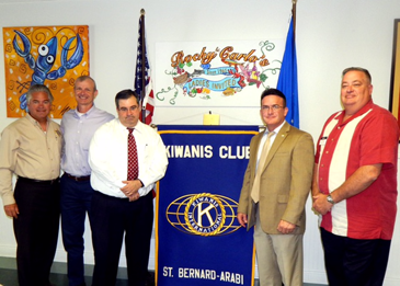 Shown at a Kiwanis Club luncheon are, from left, Sheriff James Pohlmann, Assistant District Attorney Tim Farrelly, Capt. John Gutierrez, chief investigator for the District Attorney's office; District Attorney Perry Nicosia and Mitch Perkins, Kiwanis Club president.