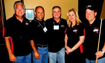 Shown at the 2014 law enforcement pool tournament in Chalmette are, from left, St. Bernard Parish Sheriff James Pohlmann, Plaquemines Sheriff Lonnie Greco, St. Charles Sheriff Greg Champagne, Darlene Cusanza of Crimestoppers and Michael Anderson of the FBI New Orleans office.