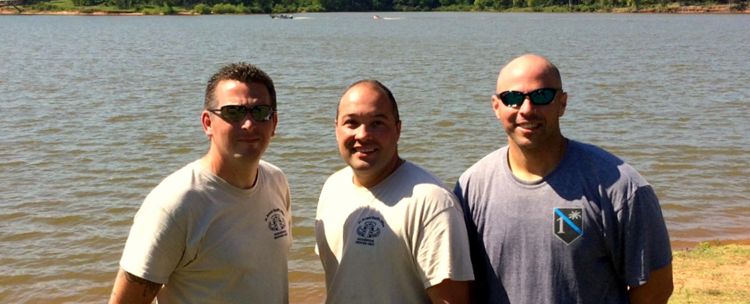 Shown from left are the Sheriff's Office Hazadous Devices Unit members who are certified as explosive divers: Capt. Daniel Doucet, Lt. Stephen Ingargiola and Sgt. Chris Scheeler, commander.