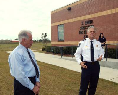 Sheriff Pohlmann and Maj. Pete Tufaro discuss the project that made it possible to build three sub-stations from a pool of money from FEMA, coupled with a land donation by the Meraux Foundation.