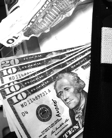 Several of the fake bills seized in the counterfeit money investigation.