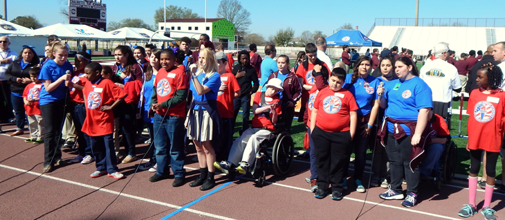 Some of the Special Olympics participants and their assigned partner from the school system prior to the start of the Games.