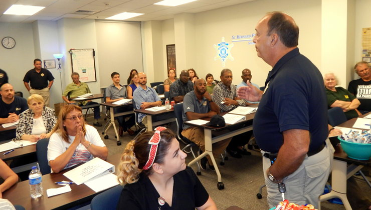 Capt. Charles Borchers, who coordinates the Academy with Dep. Sheriff Eric Eilers, speaks to members of the class.