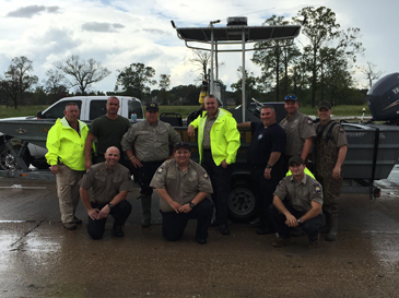 Ten of the 11 St. Bernard sheriff's deputies sent to help with flooding conditions in Baton Rouge.