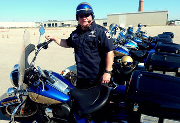 Sheriff's Dep. Glen Markham, the originator of the idea to hold a police motorcycle training program.