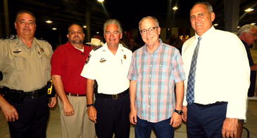 Ward A Constable Mitch Perkins, Ward A. Justice of the Peace Kevin Hoffman, Sheriff James Pohlmann, Old Arabi Neighborhood Association President Mike Pechon and Parish President Guy McInnis at the Aycock Street Barn.