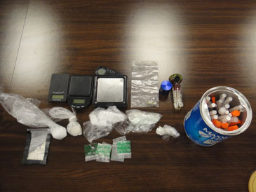 The crystal meth, heroin and marijuana seized, as well as drug paraphernalia.